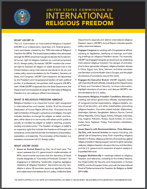 USCIRF one pager