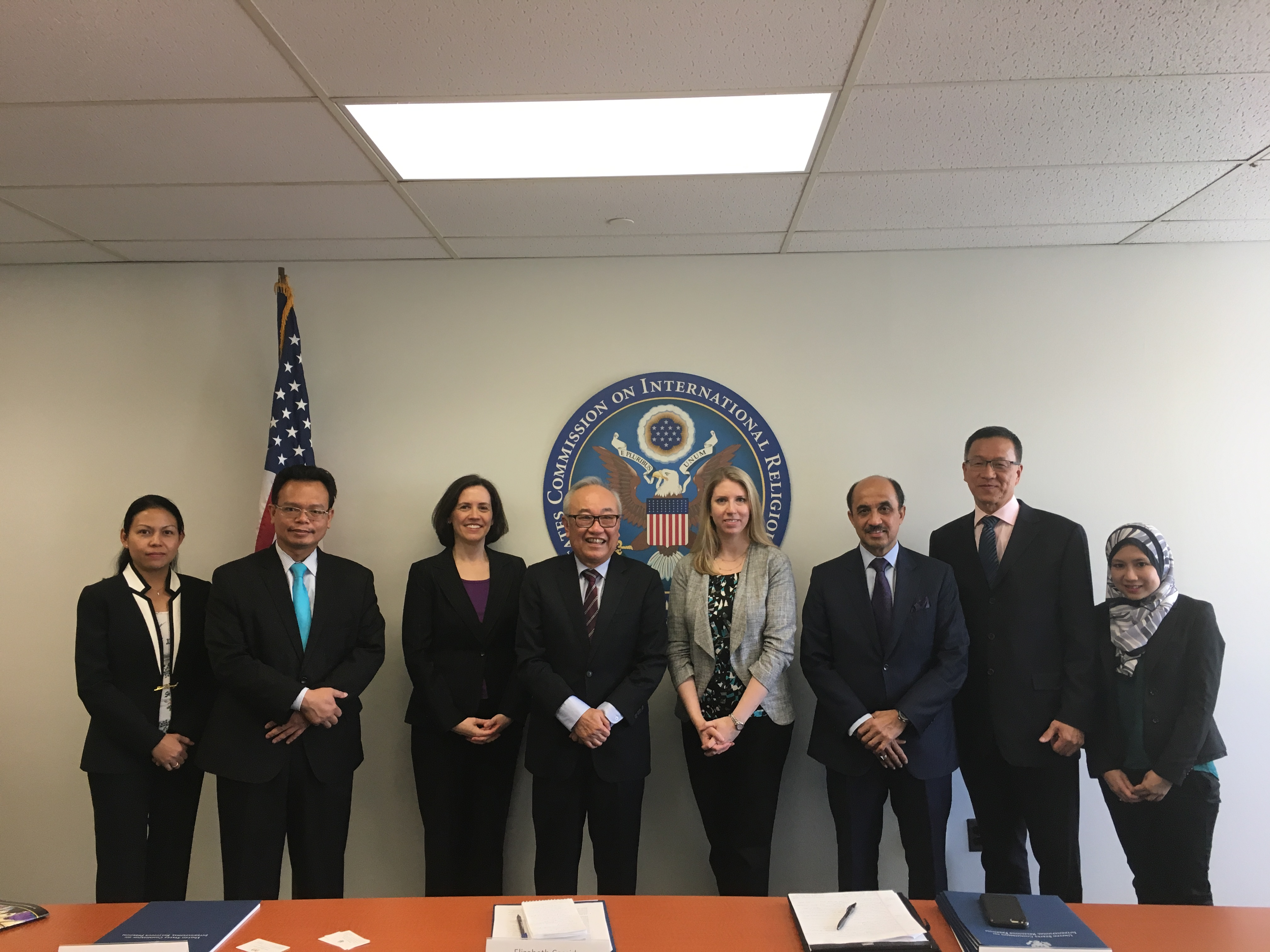 On October 2, USCIRF's Elizabeth Cassidy, Director of International Law and Policy, and Tina Mufford, Senior Policy Analyst, met with Malaysian Senator Datuk Paul Low (4th from L), Ambassador Tan Sri Zulhasnan Rafique (3rd from R), and other Malaysian officials. Read USCIRF's annual report chapter about Malaysia here.