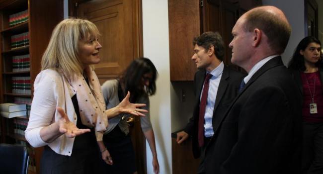 USCIRF Chair Dr. Katrina Lantos Swett meeting with Senator Chris Coons.
