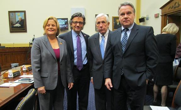 From left to right: Rep. Ileana Ros-Lehtinen, USCIRF Vice Chair Dr. M. Zuhdi Jasser, Rep. Frank Wolf, and Rep. Christopher Smith