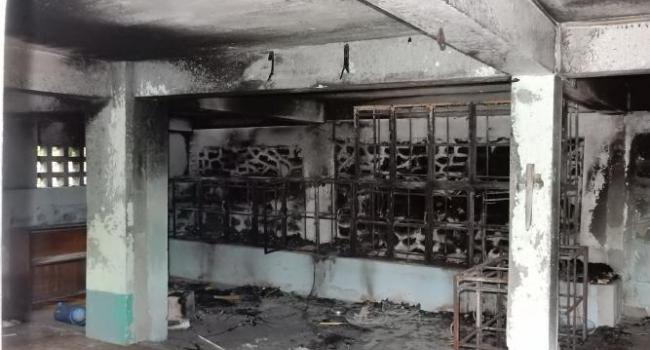Mosque burned in a Mandalay cemetery during communal violence in July 2014.