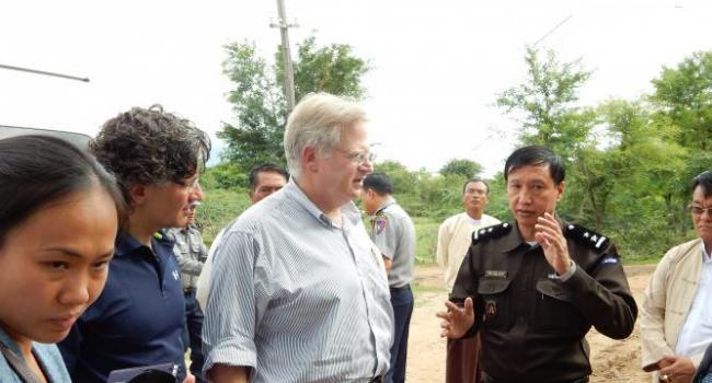 USCIRF Commissioners Eric P. Schwartz and M. Zuhdi Jasser visit a camp for internally displaced Muslims in Meiktila, Burma.