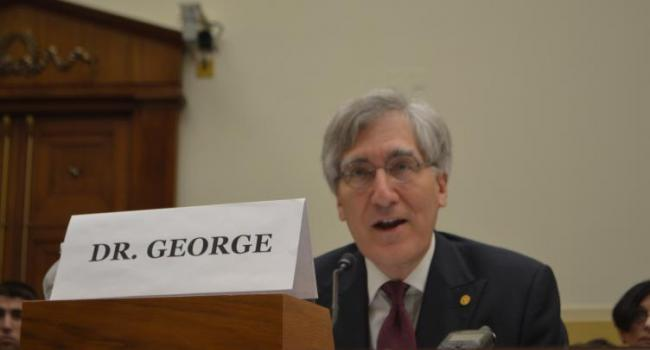 USCIRF Vice-Chair Robert P. George testifying before Congress.