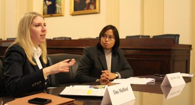 USCIRF Policy Analyst Tina Mufford and Burmese civil society and human rights advocate Zin Mar Aung brief Congressional staffs and NGOs on religious freedom conditions in Burma