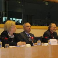 Commissioner Mary Ann Glendon speaking at a meeting before the European Parliament