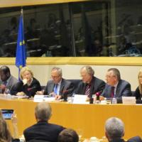 USCIRF Vice Chair Katrina Lantos Swett and Commissioner Mary Ann Glendon speaking at a meeting before the European Parliament
