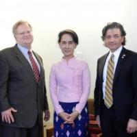 USCIRF Commissioners Eric P. Schwartz and M. Zuhdi Jasser meet with Daw Aung San Suu Kyi in Rangoon, Burma, along with USCIRF Director of Policy and Research Knox Thames and East Asia Analyst Tina Mufford, August 19, 2014.