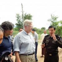 USCIRF Commissioners Eric P. Schwartz and M. Zuhdi Jasser visit a camp for internally displaced Muslims in Meiktila, Burma.