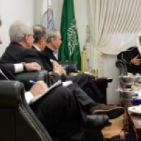 Commissioners Clifford D.May, John Ruskay, Vice Chair James Zogby, and Chair Thomas J. Reese meet with Dr. Muhammad al-Issa, Secretary General of the Muslim World League