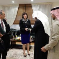 Commissioner Kristina Arriaga speaks with Dr. Muhammad al-Issa, Secretary General of the Muslim World League