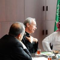 USCIRF Vice Chair James Zogby and Chair Thomas Reese meet with Faisal bin Abdulrahman bin Muaammar, Secretary General of the King Abdulaziz Center for National Dialogue