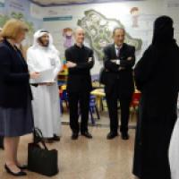 Chair Thomas J. Reese and James Zogby meet with Dr. Mohammed Alzaghibi, CEO of the Tatweer Company for Educational Services, and other company representatives
