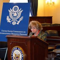 Lantos Foundation Chairman Annette Lantos providing remarks at the Defending Freedoms Project announcement, December 6, 2012