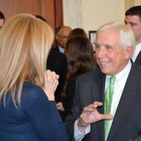 USCIRF Chair Katrina Lantos Swett talking with Rep. Frank Wolf (R-VA) at the Defending Freedoms Project announcement, December 6, 2012