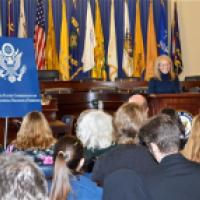 USCIRF Chair Katrina Lantos Swett providing remarks at the announcement of the Defending Freedoms Project, December 6, 2012