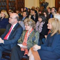 Rep. James McGovern (D-MA), Lantos Foundation Chairman Annette Lantos, and USCIRF Chair Katrina Lantos Swett at the announcement of the Defending Freedoms Project, December 6, 2012