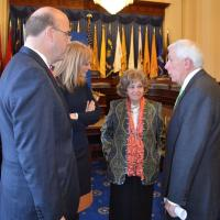 From left to right: Rep. James McGovern (D-MA), USCIRF Chair Katrina Lantos Swett, Chairman of the Lantos Foundation Annette Lantos, Rep. Frank Wolf (R-VA)