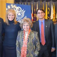 Rep. James McGovern (D-MA), USCIRF Chair Katrina Lantos Swett, Lantos Foundation Chair Annette Lantos, Head of Washington, D.C. office of Amnesty USA Frank Januzzi, and Rep. Frank Wolf (R-VA)