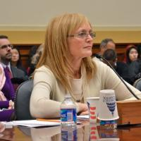 USCIRF Chair Dr. Katrina Lantos Swett, with Executive Director Jackie Wolcott behind her, testifying on Anti-Semitism before the House Foreign Affairs Subcommittee Hearing, February 27, 2013
