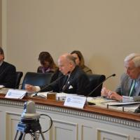 Representative Frank Wolf (R-VA), Chair of the Tom Lantos Human Rights Commission, with TLHRC members Representatives Chris Smith (R-NJ) and Robert Aderholt (R-AL) at a hearing on Iran, March 15, 2013