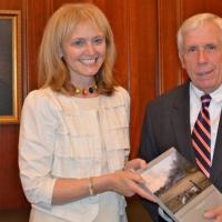 USCIRF Chair Katrina Lantos Swett presenting USCIRF's 2013 Annual Report to Representative Frank Wolf (R-VA), May 7, 2013