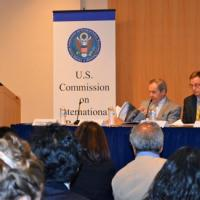 USCIRF Chair Katrina Lantos Swett presenting USCIRF's 2013 Annual Report at NED, May 8, 2013
