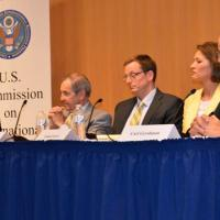 USCIRF Chair Katrina Lantos Swett, Ambassador Princeton Lyman, John Knaus of the NED, Louisa Greeve of the NED, and NED President Carl Gershan at NED event on USCIRF's 2013 Annual Report, May 8, 2013