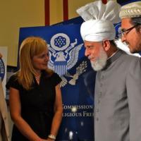 USCIRF Commissioner Azizah al-Hibri and USCIRF Chair Katrina Lantos Swett with His Holiness Mirza Masroor Ahmad, June 27, 2012