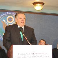 Commissioner Richard Land speaks at the press conference