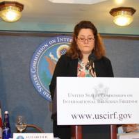 Commissioner Elizabeth Prodromou speaks at the press conference