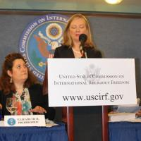 Commissioner Nina Shea speaks at the press conference