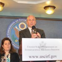Commissioner Ted Van Der Meid speaks at the press conference