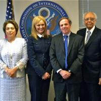 USCIRF Commissioners Abrams and al-Hibri, USCIRF Chair Lantos Swett, Assistant Secretary of State Michael Posner, USCIRF Vice Chair Shaw, and Commissioner Jasser at June 6, 2012 meeting
