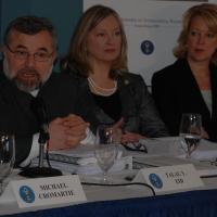 Commissioners Talal Eid and Nina Shea with Ambassador Jackie Wolcott