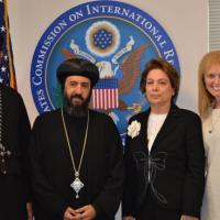 From Left to Right: Father Michael of the Coptic Orthodox Church in New York; Bishop Angaelos, General Bishop of the Coptic Church in the United Kingdom; USCIRF Commissioner Azizah al-Hibri; and USCIRF Chair Katrina Lantos Swett, September 21, 2012