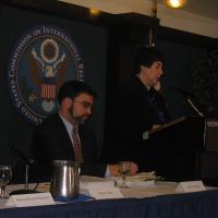 Commissioner Felice Gaer at the podium