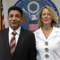 USCIRF Executive Director Jackie Wolcott with Peter Bhatti, Chair of International Christian Voice