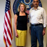 Executive Director Jackie Wolcott with Egyptian Shi'a Muslim Mohamed Ghoneim during his August 2012 visit to Washington, D.C.