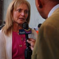 USCIRF Chair Katrina Lantos Swett being interviewed at Hill event on Religious Pluralism in the Middle East, July 19, 2012