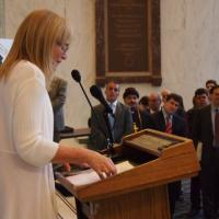 USCIRF Chair Dr. Katrina Lantos Swett speaking at the Hill event on Religious Pluralism in the Middle East, July 19, 2012