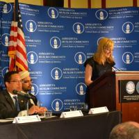 USCIRF Chair Katrina Lantos Swett giving remarks at reception for His Holiness Mirza Masroor Ahmad on June 27, 2012