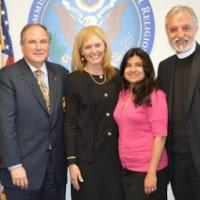 USCIRF Chair Katrina Lantos Swett, USCIRF Executive Director Wolcott, and Policy Analyst Chaudhry with Archons of the Ecumenical Patriarch - Commander Anthony Limberakis and Father Alexander Karloutsosm, May 2013