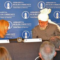 USCIRF Chair Katrina Lantos Swett with the leader of the Ahmadiyya Muslim Community His Holiness Mirza Masroor Ahmad, June 27, 2012
