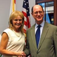USCIRF Chair Katrina Lantos Swett with Representative Brad Sherman (D-CA) at July 2012 meeting