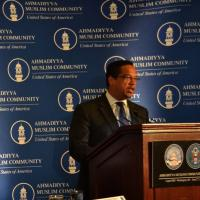 Representative Keith Ellison (D-MN) giving remarks at Hill event welcoming the leader of the Ahmadiyya Muslim Communinity His Holiness Mirza Masroor Ahmad, June 27, 2012