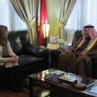 USCIRF Chair Katrina Lantos Swett with Minister of Justice and Islamic Affairs Sheikh Khalid bin Ali Al Khalifa, December 13, 2012