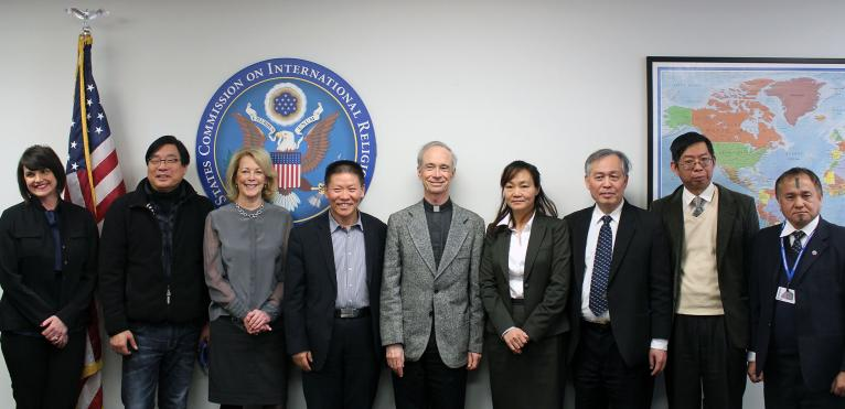 USCIRF Chair Rev. Thomas J. Reese, S.J., and Commissioners Kristina Arriaga and Jackie Walcott meet with Bob Fu, founder and president of China Aid, and a delegation of rule of law and religious freedom advocates, February 3, 2017.