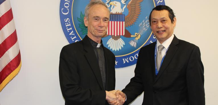 USCIRF Chair Thomas J. Reese, S.J. with U Aung Lynn, Ambassador of the Republic of the Union of Myanmar, February 21, 2017